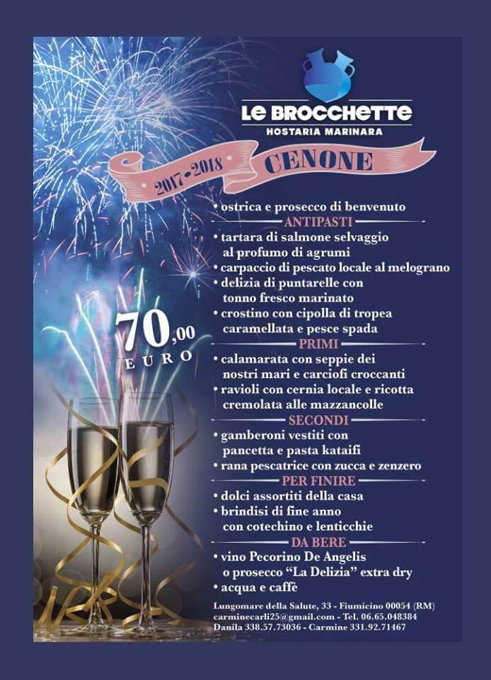 Menu Cenone di Capodanno 2017 2018 al Ristorante Le Brocchette Fiumicino